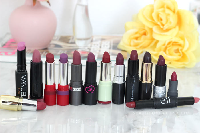 Berry Purple Lipsticks: I spent the weekend decluttering my lipstick in my makeup drawers. Find out what survived the purge and see what I tossed. | Slashed Beauty