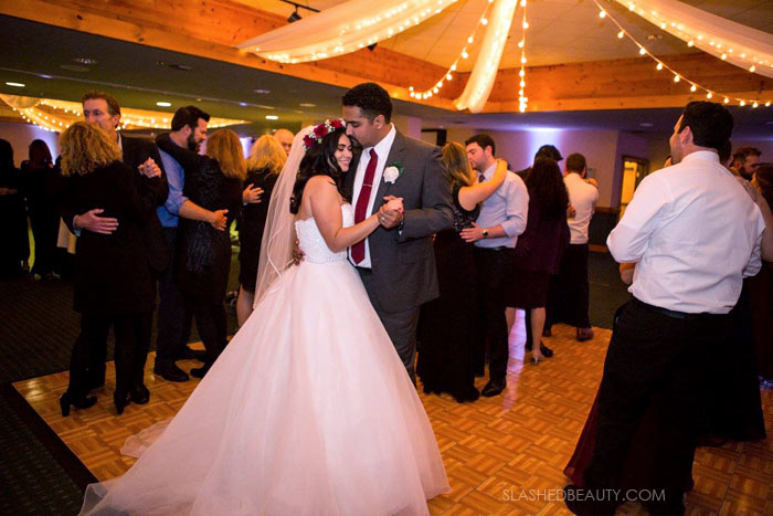 Bride & Groom Dancing: See more wedding photos from this red fall wedding at Bass Lake (The Pines Resort). | Slashed Beauty