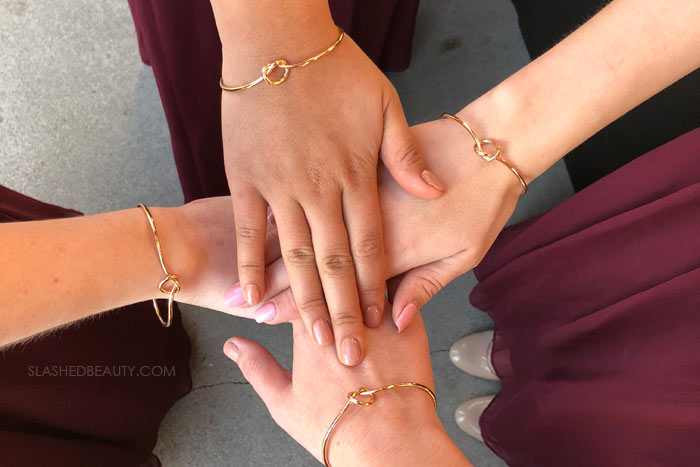 Bridesmaids Gift: Knot Bracelet - See more wedding photos from this red fall wedding at Bass Lake (The Pines Resort). | Slashed Beauty