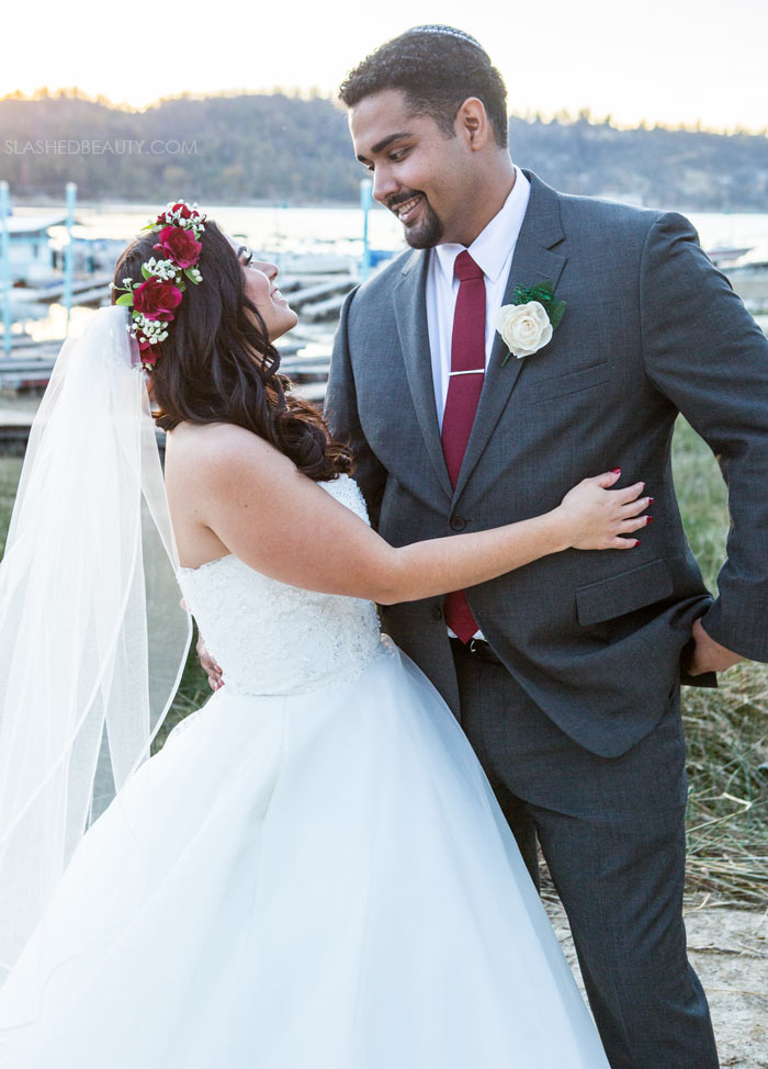 Grey Suit for Wedding: See more wedding photos from this red fall wedding at Bass Lake (The Pines Resort). | Slashed Beauty