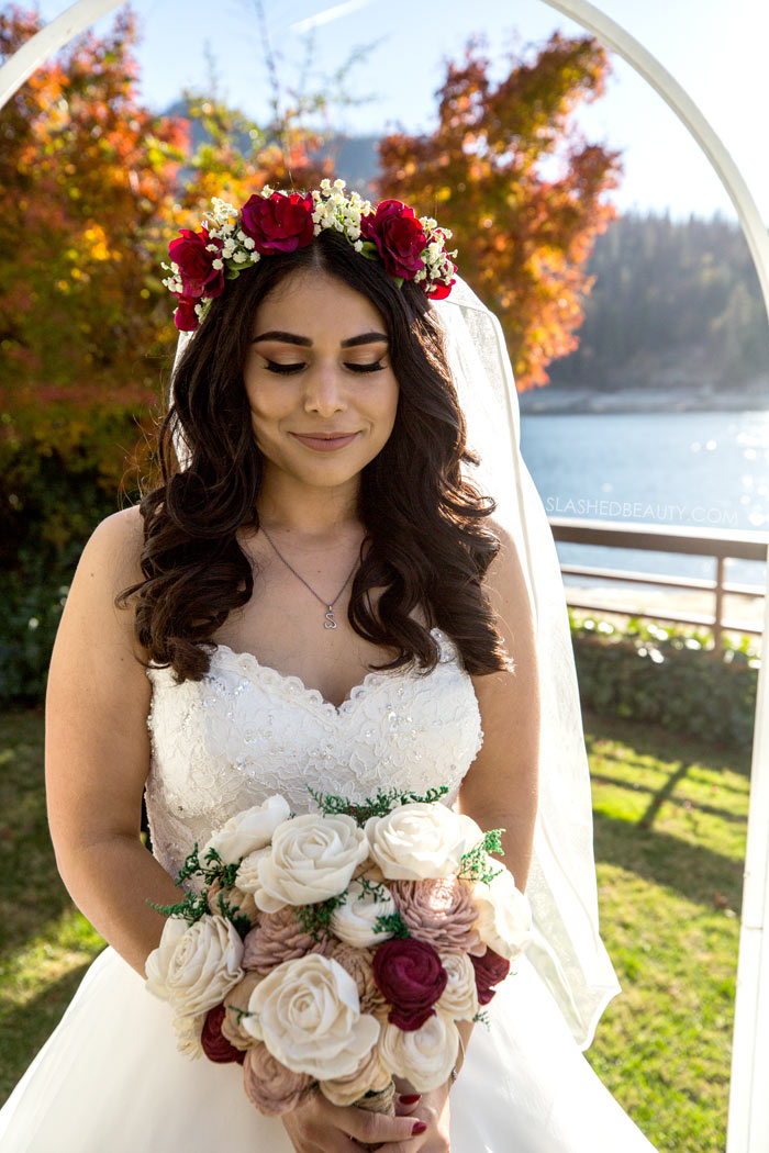 Fall Bridal Makeup: See more wedding photos from this red fall wedding at Bass Lake (The Pines Resort). | Slashed Beauty