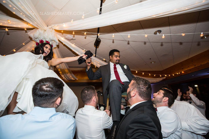 Chair Dance at Jewish Wedding: See more wedding photos from this red fall wedding at Bass Lake (The Pines Resort). | Slashed Beauty