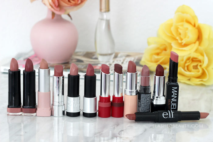 Nude Lipsticks: I spent the weekend decluttering my lipstick in my makeup drawers. Find out what survived the purge and see what I tossed. | Slashed Beauty