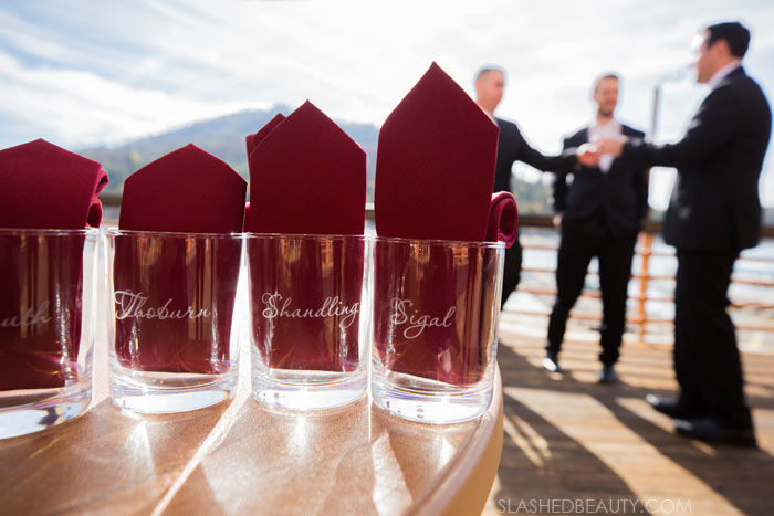 Personalized Groomsman Gifts: See more wedding photos from this fall wedding at Bass Lake (The Pines Resort). | Slashed Beauty