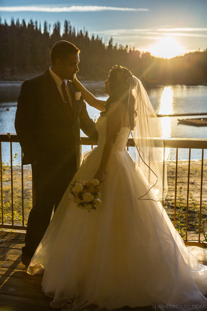Sunset Lake Wedding: See more wedding photos from this red fall wedding at Bass Lake (The Pines Resort). | Slashed Beauty