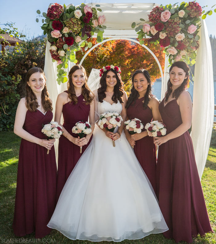 Wine Bridesmaids Dresses for Fall: See more wedding photos from this red fall wedding at Bass Lake (The Pines Resort). | Slashed Beauty