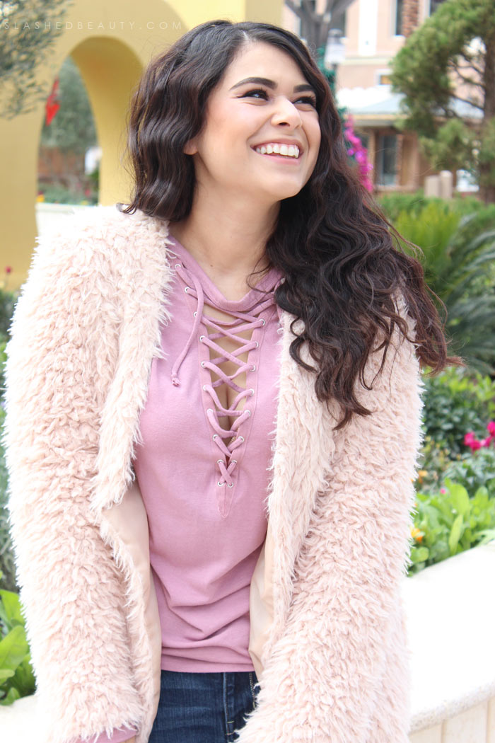 Pink faux furry coat: Bold Coats & Statement Outerwear is how I'm adding a pop of fun and color to my staple looks. Get outfit inspo! | Slashed Beauty