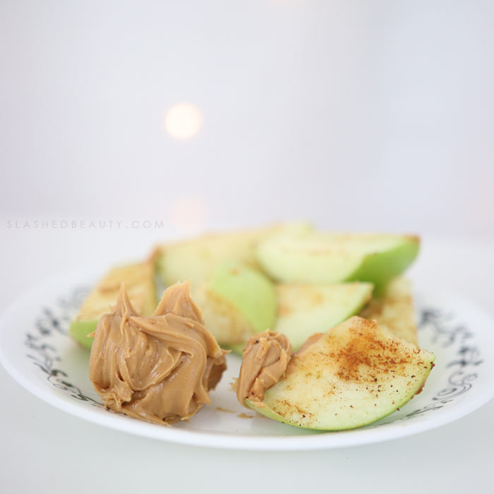 Spiced Apple & Peanut Butter Snack: Try out these three quick make-ahead healthy sweet snacks when you have your next sweet tooth! Get the recipes.  | Slashed Beauty