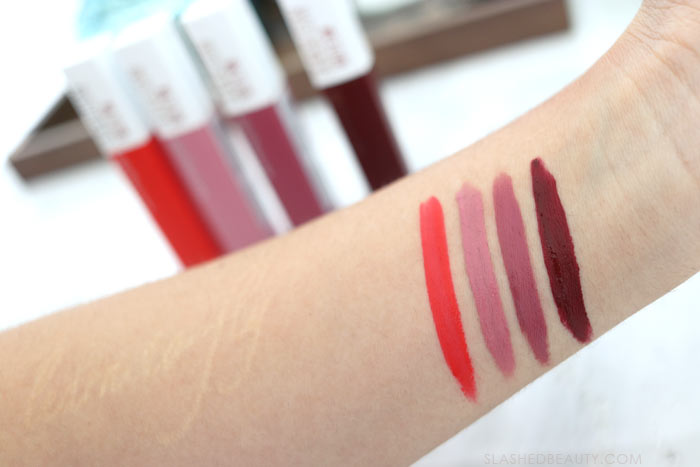 Maybelline Super Stay Matte Ink Swatches: These three kiss proof drugstore lipsticks are perfect for Valentine's Day-- or any day you need a long lasting lip. | Slashed Beauty