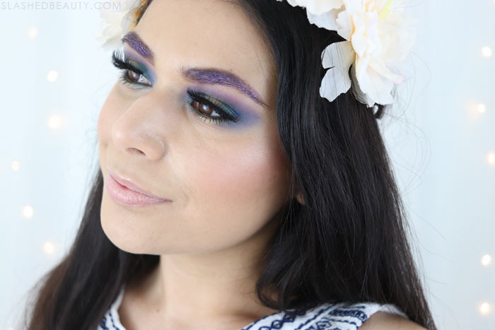 2018 Music Festival Makeup Tutorial: I used all drugstore products for this colorful makeup look! Watch the tutorial. | Slashed Beauty