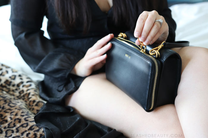 The clutch that solves your wallet problem: Mei Li Amelia Crossbody. Perfect for date night, then take the wallet off and throw it in your tote! | Slashed Beauty