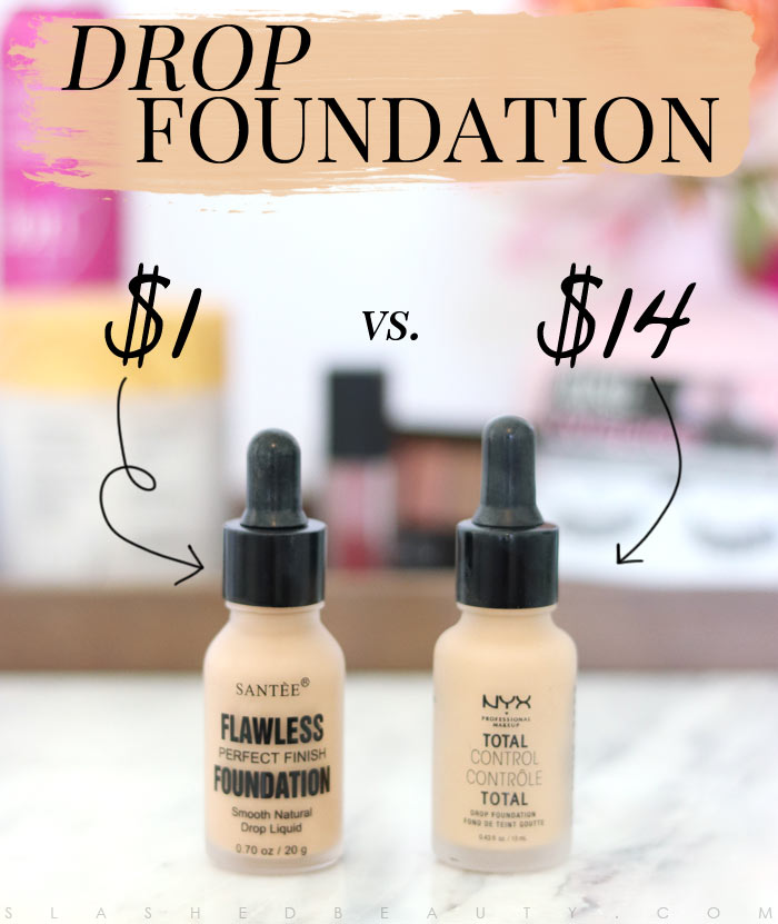 Does this $1 foundation from Shop Miss A rival the popular NYX Total Drop Foundation? Find out in this side-by-side comparison and wear test! | Slashed Beauty