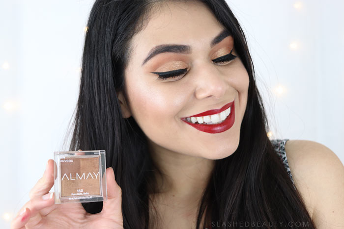 Pure Gold, Baby. Take a closer look at the Almay Shadow Squad Eyeshadow review and three looks I created using the monochrome shades. | Slashed Beauty