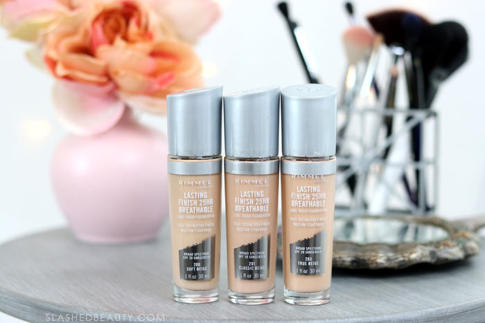 Is the latest popular drugstore foundation right for you? Take a look at this review of the Rimmel Lasting Finish 25 HR Breathable Foundation, plus swatches and a before & after. | Slashed Beauty