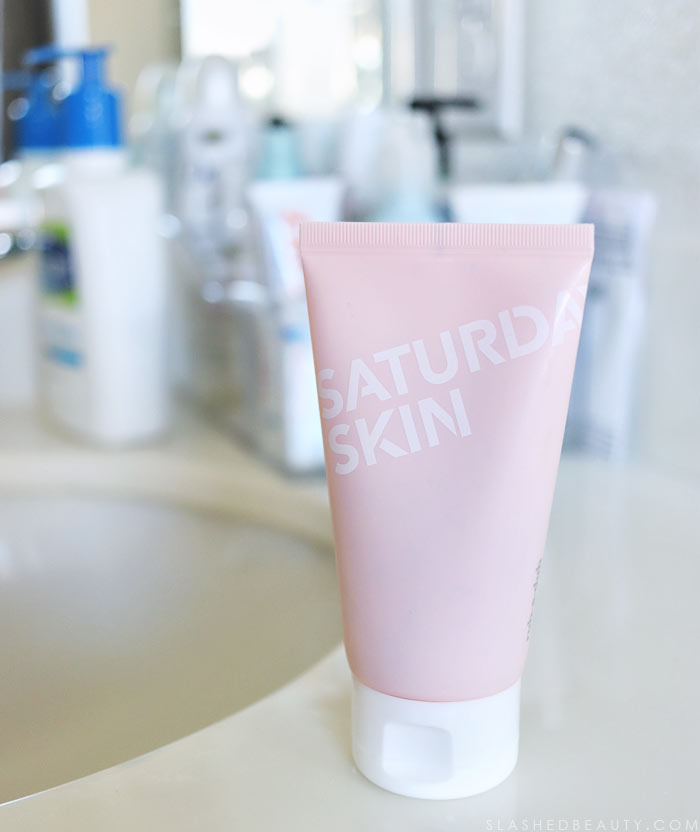 The best skin care product to use between facials: Saturday Skin Rub A Dub Refining Peel Gel. See how it works! | Slashed Beauty