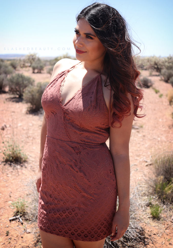 Rust Lace Mini Dress: Summer Outfit Inspiration for festivals, road trips and vacation. | Slashed Beauty