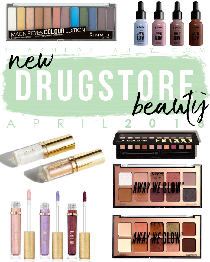Take a look at the new drugstore makeup that launched during April 2018: a lot of spring-focused highlight shades and pops of color! | Slashed Beauty