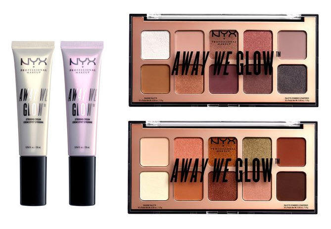 NYX Away We Glow Strobing Cream & Eyeshadow Palettes: Take a look at the new drugstore makeup that launched during April 2018: a lot of spring-focused highlight shades and pops of color! | Slashed Beauty