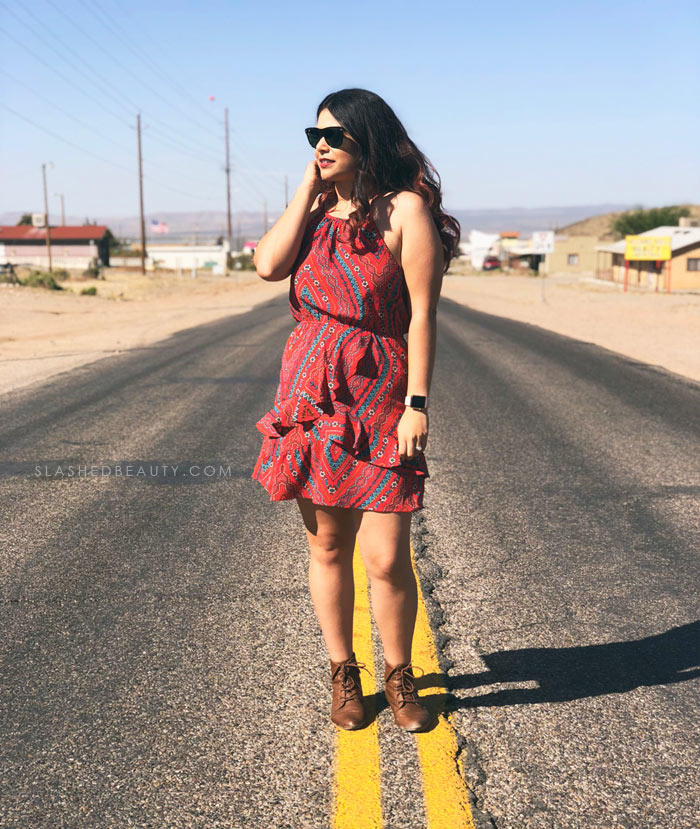 Red Ruffle Dress: Summer Outfit Inspiration for festivals, road trips and vacation. | Slashed Beauty