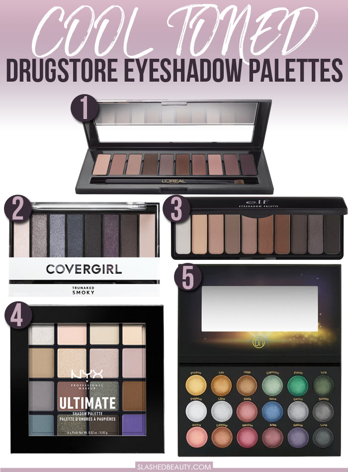 If you're a fan of cool toned makeup, check out these cool toned eyeshadow palettes from the drugstore! | Slashed Beauty