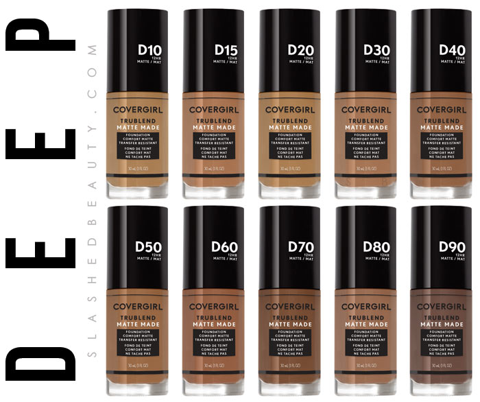 Deep drugstore foundation: See COVERGIRL's most inclusive makeup line, the TruBlend Matte Made foundation, available in 40 shades! | Slashed Beauty