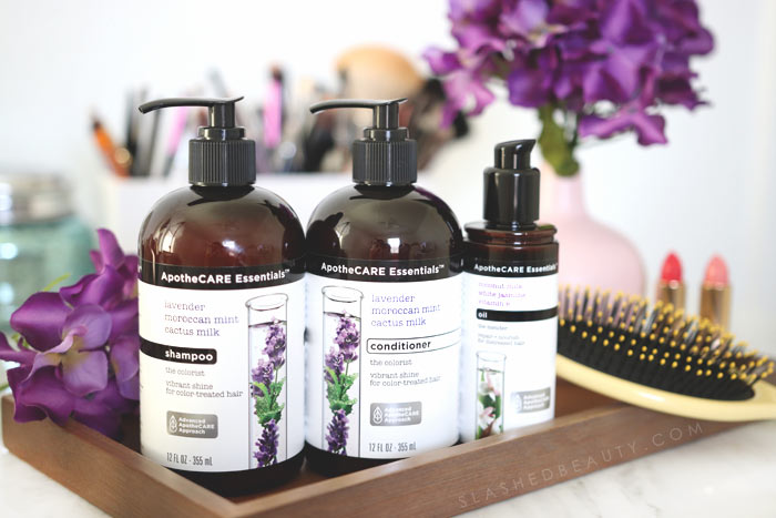 How I've changed my summer hair care routine for color treated hair. I discovered this affordable shampoo and conditioner from ApotheCARE Essentials at CVS that gives me salon hair on a budget. | Slashed Beauty