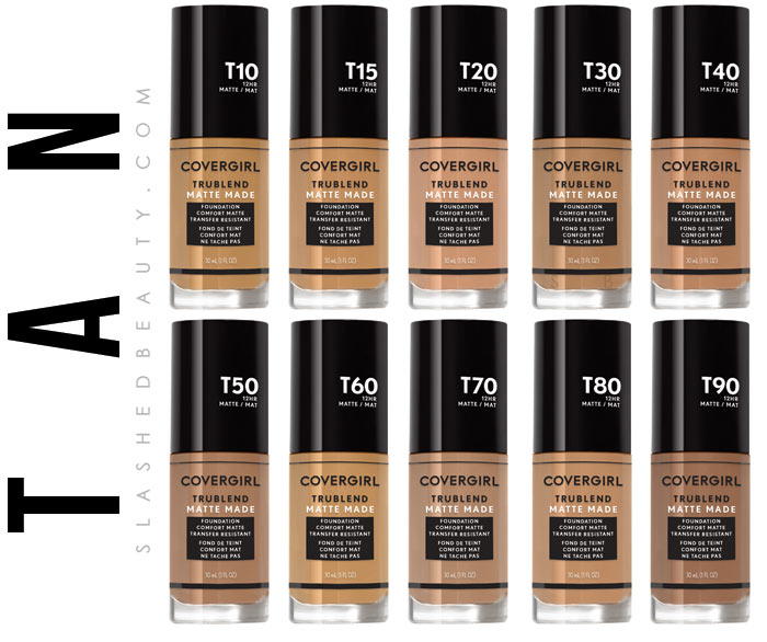 Tan Drugstore Foundation: See COVERGIRL's most inclusive makeup line, the TruBlend Matte Made foundation, available in 40 shades! | Slashed Beauty