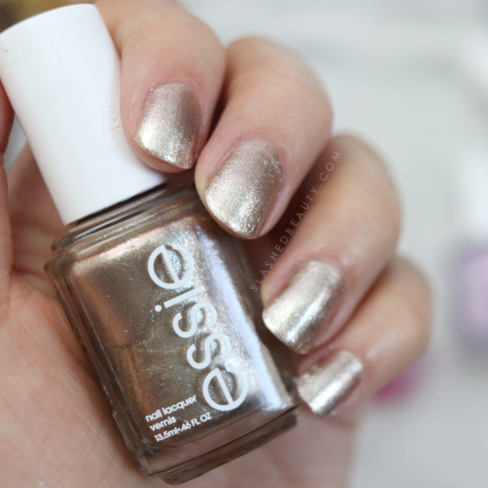 essie High Tides & Dives: Shimmery bronze nail polish. See swatches of the 2018 essie Seaglass Shimmers collection! | Slashed Beauty