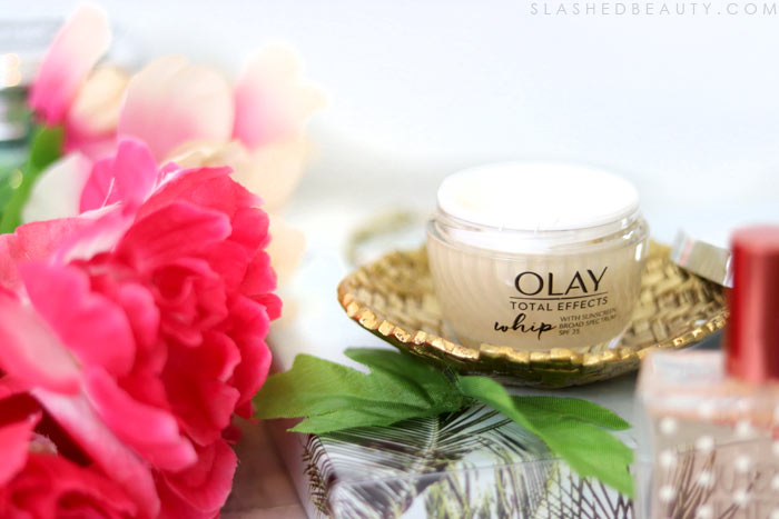 Are you applying SPF every day? Using the Olay Total Effects Whip with SPF 25 is the easiest way to work it into your routine! Check it out. | Slashed Beauty