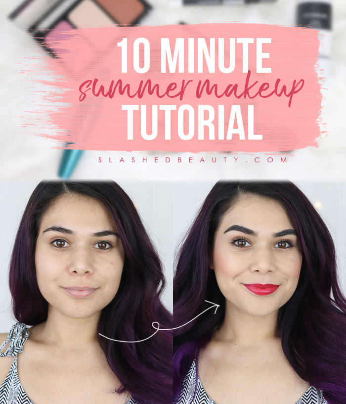 This 10 minute summer makeup tutorial will get you out the door quickly and have you looking polished all day! | Slashed Beauty