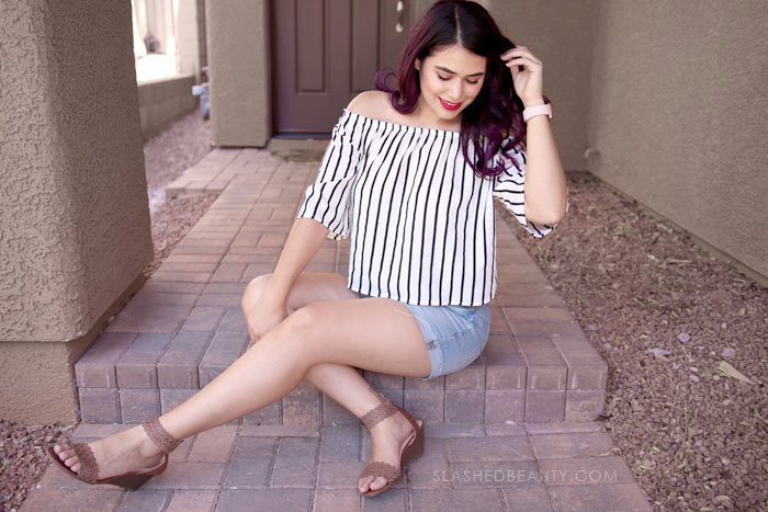 Dressy Crop Top: See what I picked up on my recent trip to Macy's Backstage to refresh my summer wardrobe. All these summer styles were $20 and under! Watch the summer clothing try on haul. | Slashed Beauty