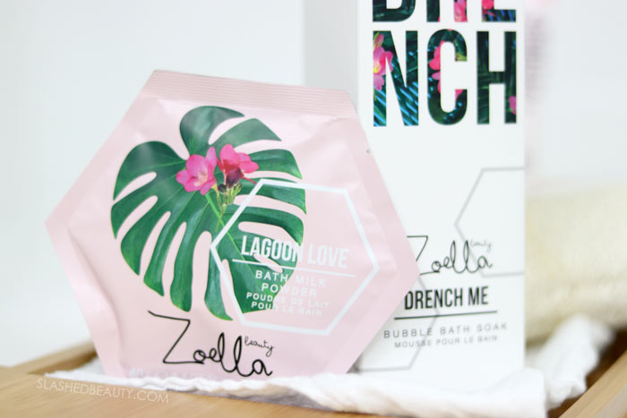 Zoella Beauty Lagoon Love Bath Milk Powder: Take a look at the new Zoella Beauty Splash Botanics Collection, a fresh bath & body line for summer. | Slashed Beauty