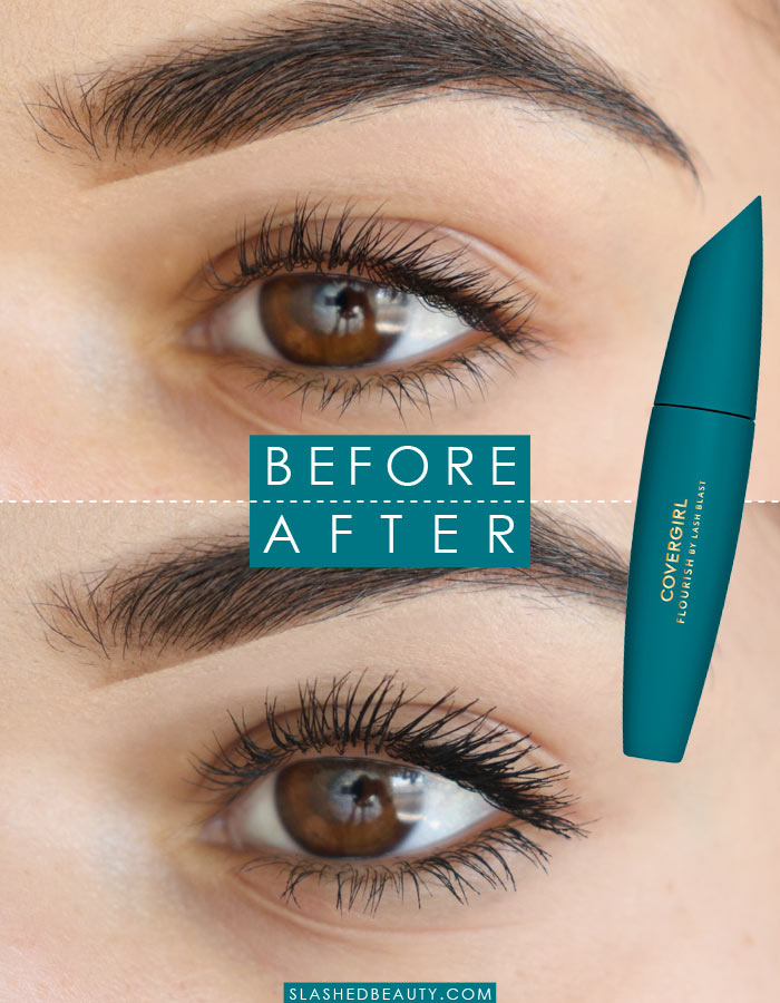 See the effect of the new COVERGIRL Flourish by Lash Blast mascara. It's a new drugstore mascara favorite! | Slashed Beauty