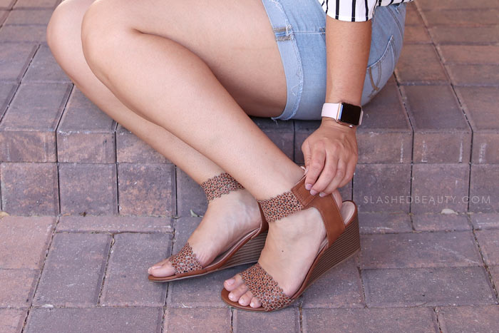 Summer wedge sandals: See what I picked up on my recent trip to Macy's Backstage to refresh my summer wardrobe. All these summer styles were $20 and under! Watch the summer clothing try on haul. | Slashed Beauty