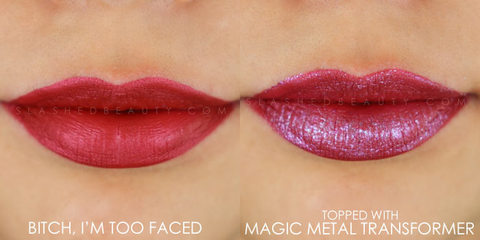 Too Faced Melted Matte-tallic Bitch, I'm Too Faced Swatch | Peep the brand new Too Faced Melted Matte-tallics Brushed Metal Matte Lipsticks. See swatches and read the review: are they worth the splurge? | Slashed Beauty