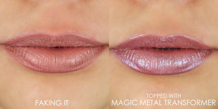 Too Faced Melted Matte-tallic Faking It Swatch | Peep the brand new Too Faced Melted Matte-tallics Brushed Metal Matte Lipsticks. See swatches and read the review: are they worth the splurge? | Slashed Beauty