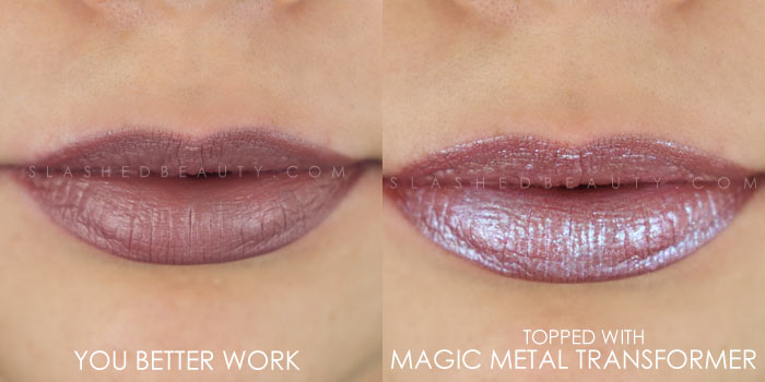 Too Faced Melted Matte-tallic You Better Work! Swatch | Peep the brand new Too Faced Melted Matte-tallics Brushed Metal Matte Lipsticks. See swatches and read the review: are they worth the splurge? | Slashed Beauty