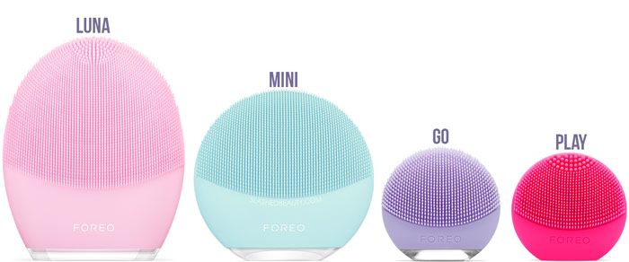 FOREO LUNA Comparison: FOREO LUNA vs LUNA mini, LUNA go & LUNA play | Slashed Beauty