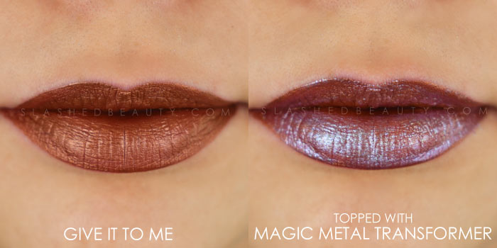 Too Faced Melted Matte-tallic Give It To Me Swatch | Peep the brand new Too Faced Melted Matte-tallics Brushed Metal Matte Lipsticks. See swatches and read the review: are they worth the splurge? | Slashed Beauty