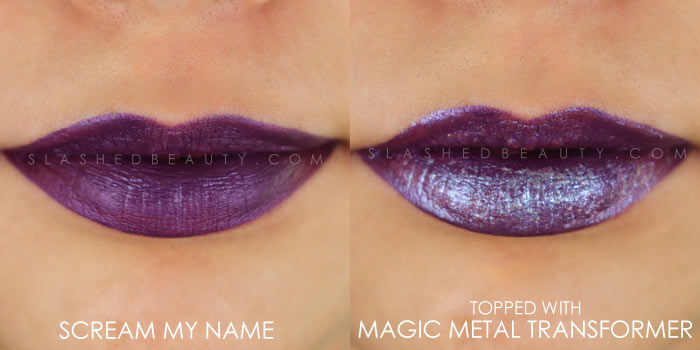 Too Faced Melted Matte-tallic Scream My Name Swatch | Peep the brand new Too Faced Melted Matte-tallics Brushed Metal Matte Lipsticks. See swatches and read the review: are they worth the splurge? | Slashed Beauty
