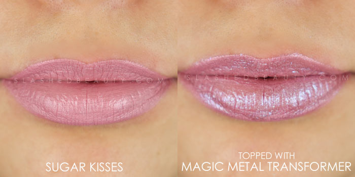 Too Faced Melted Matte-tallic Sugar Kisses Swatch | Peep the brand new Too Faced Melted Matte-tallics Brushed Metal Matte Lipsticks. See swatches and read the review: are they worth the splurge? | Slashed Beauty