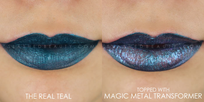 Too Faced Melted Matte-tallic The Real Teal Swatch | Peep the brand new Too Faced Melted Matte-tallics Brushed Metal Matte Lipsticks. See swatches and read the review: are they worth the splurge? | Slashed Beauty