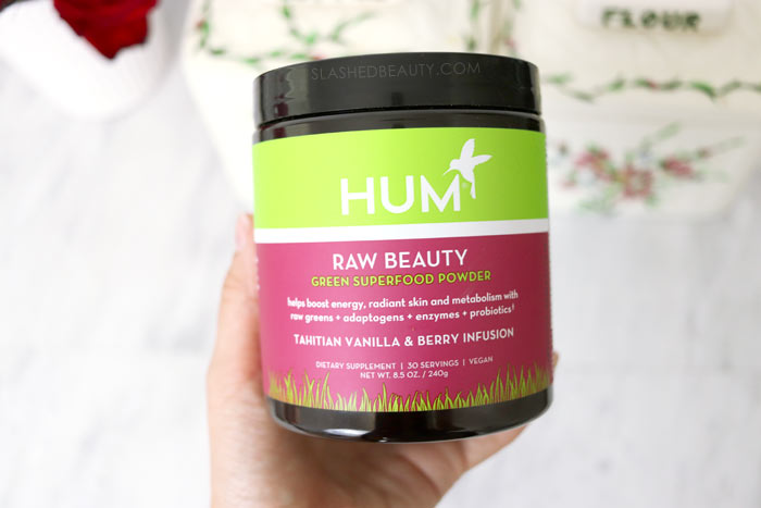 Is the HUM Raw Beauty Green Superfood Powder worth it? Read the review and see what it does for energy and skin! | Slashed Beauty