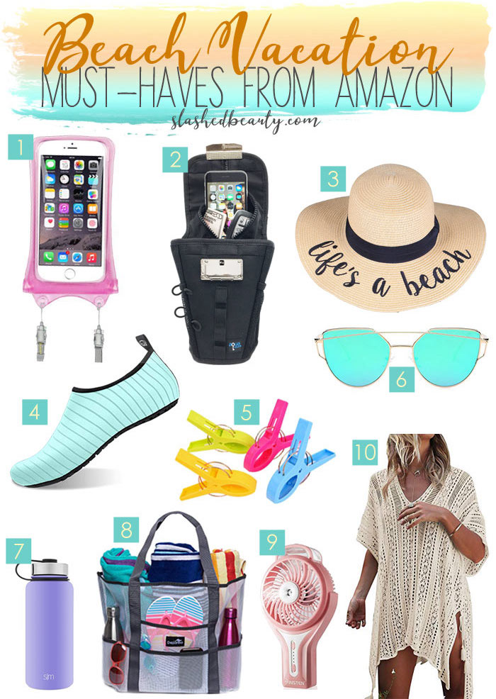 Going on a beach trip? Add these beach vacation must haves from Amazon to your cart so you can relax in style. | Slashed Beauty