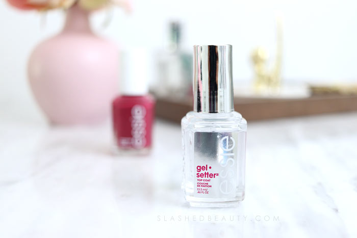 The best quick drying drugstore nail top coat that makes polish last a long time: Essie Gel Setter Top Coat Review. | Slashed Beauty