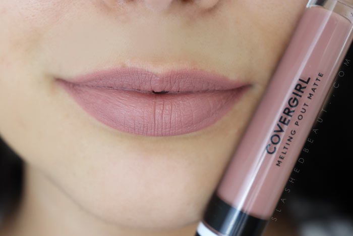 See swatches of all the new Covergirl Melting Pout Matte Liquid Lipsticks (this shade is Current Nude) Which are the best shades and which are the ones you need to skip!? Read the review. | Slashed Beauty