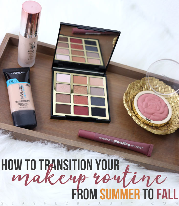 Before Fall is in full swing, take these baby steps to start the transition from summer to fall makeup! Complete with drugstore makeup suggestions. | Slashed Beauty