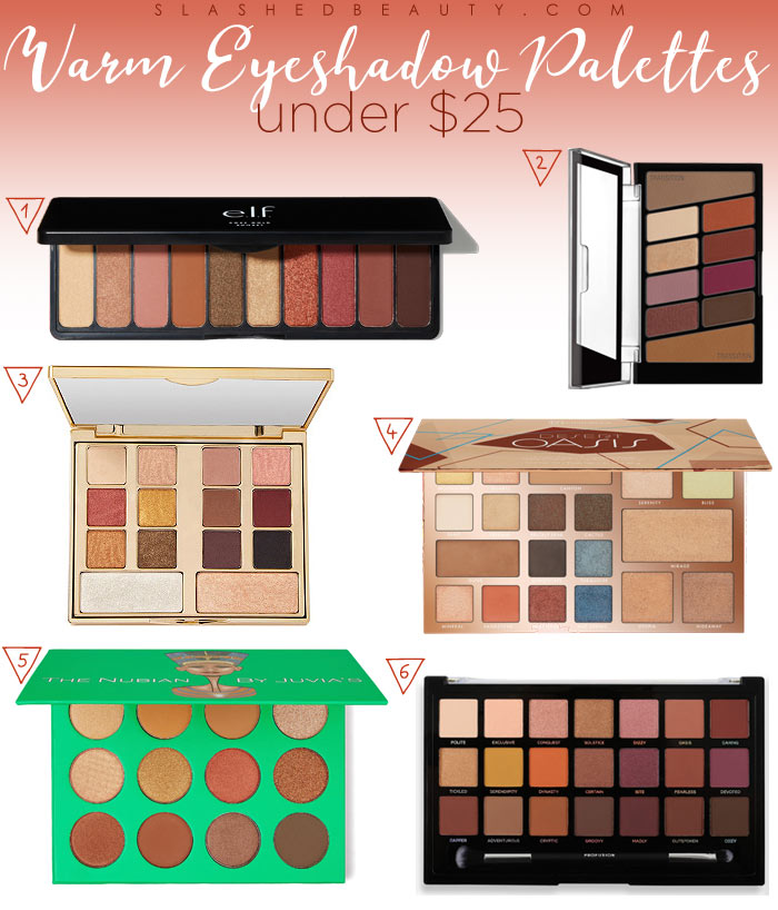 Warm Eyeshadow Palettes Under $25: Warm eye looks are all the rage, try this trend to transition from summer to fall makeup. | Slashed Beauty