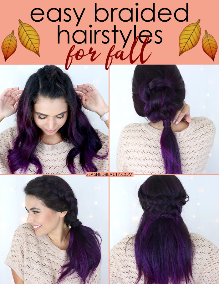 Fall Braided Hairstyles Tutorial for Medium Hair - Watch the hair tutorial video for the steps. | Slashed Beauty