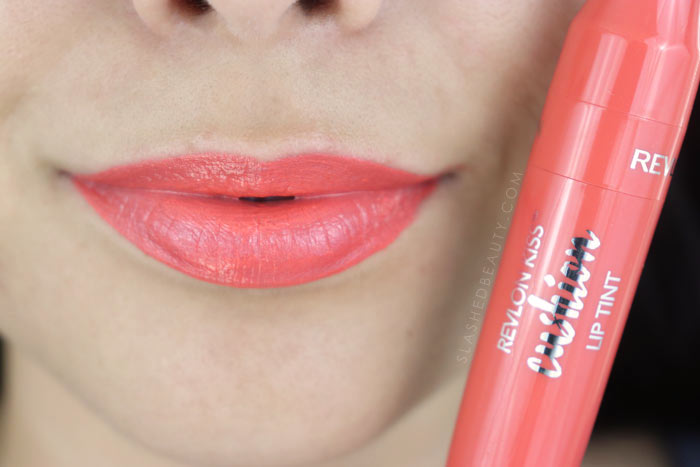 Revlon Kiss Cushion Lip Tints Review and Lip Swatches - High End Coral | Slashed Beauty